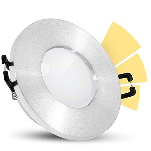 linovum ISASO Bad Einbauspot LED IP65 mit fourSTEP Dimmen ohne Dimmer - LED GU10 5W warmweiß - Deckenspot rund Alu gebürstet