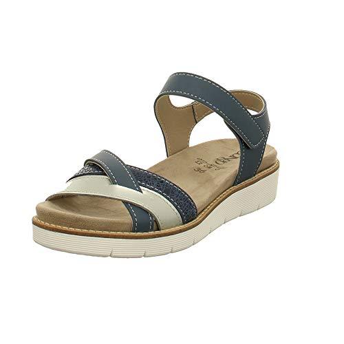 LONGO Damen Sandaletten Blaue Sandalette mit Wechselfußbett 1020249 blau 496437