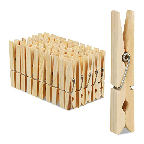 Relaxdays Wäscheklammern Holz, 100er Set, große Holzwäscheklammern, Basteln, Klammern zum Trocknen, Metallfeder, Natur, Pack