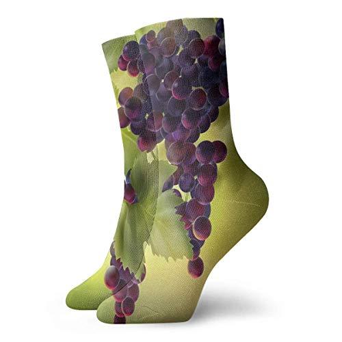 wwoman Novedad Divertido Crazy Crew Sock Uvas con Hojas Impreso Sport Calcetines Deportivos 30cm de largo Calcetines de regalo personalizados
