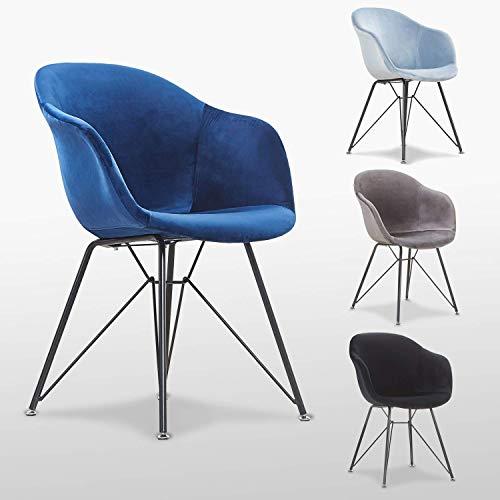 P & N Homewares Valentina Samt Stuhl in hellblau | für Wohnzimmer, Schlafzimmer,, Büros, Esszimmer, etc. | Stoff gepolstert Kunststoff Sessel mit Metall Beine, königsblau, H 840 x W 605 x D 435 mm
