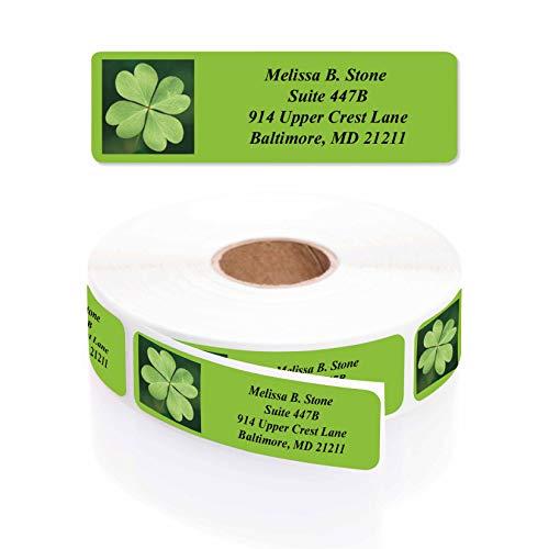 Lots of Irish Luck Shamrock Rolled Return Address Labels with Elegant Plastic Dispenser