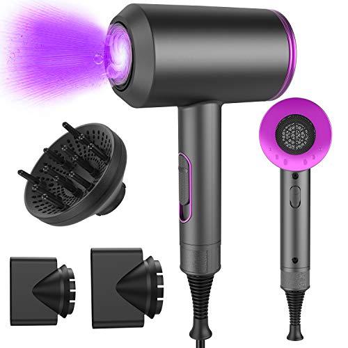 Föhn, ElectriBrite Haartrockner 4-in-1 Professional 2000W, Haarfön mit Windgeschwindigkeit-einstellung, 2 flache Aufsätze und 1 Volumenaufsatz Föhn Ionen für locken, Klein und leise