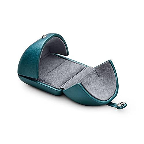 LANL Oirlv - Caja de anillos de piel azul de doble diseño abierto superior microfibra interior anillo colgante pulsera