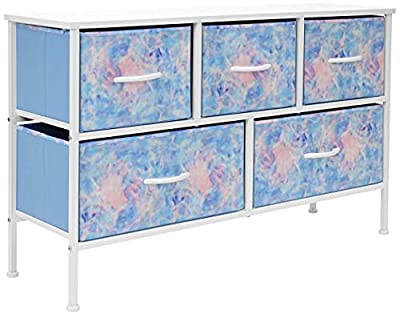 Sorbus Dresser with 5 Drawers - Furniture Storage Chest for Kid's, Teens, Bedroom, Nursery, Playroom, Clothes, Toys - Steel Frame, Wood Top, Fabric Bins (Pastel Tye-Die)