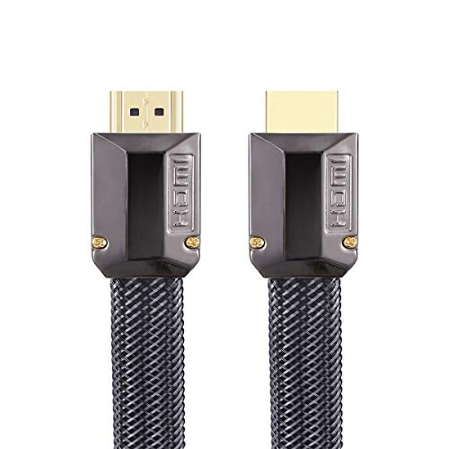 ILS - voor HDMI-kabel versie 1 m 2.0 HD 19 1 platte kabel standaard koper zonder zuurstof metaal TV 4K (zwart pistool + nylon net)