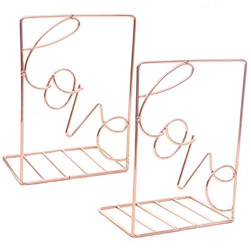 2pièCes Creative Metal Book Stand,éTagèRe En Fer or Rose Support de Rangement Pour Papeterie Pour Bureau éTudiant Utilisé Pour Stocker et Organiser de Bureau et éTagèRes de Bricolage