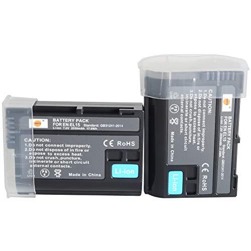 DSTE - Batería de repuesto EN-EL15 compatible con cámaras Nikon 1 V1, D7200, D7100, D750, D600, D7000, D800E, D810A (2 unidades)