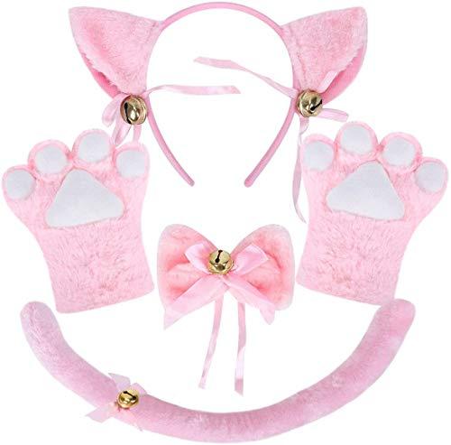 DUJIAOSHOU Juego de disfraz de gato para cosplay de peluche, garras, guantes, gatitos, orejas, cuello y patas, adorable, para fiestas (rosa)