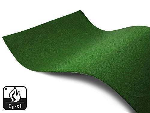 Indoor Kunstrasenteppich Rasenteppich GARDEN B1 in Meterware - Dunkelgrün 2,00m x 1,00m, Brandhemmender Vlies-Kunstrasen für Veranstaltungen, Messe Teppichboden