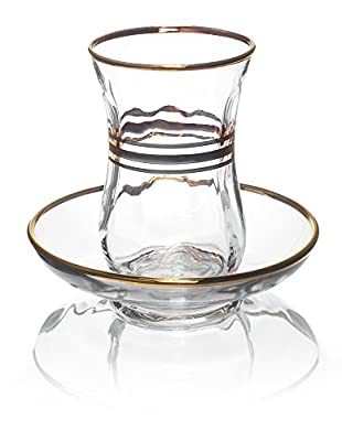 Original Turkish Tea Glasses with Gold Detailing and Saucers, 4 Ounce - Set of 6, Small