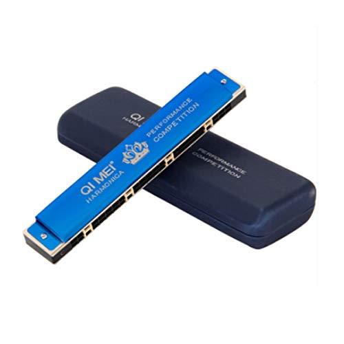 24-Loch-, 28-Loch-Tremolo-Mundharmonika Blackmaster Professional spielt Mundharmonika C, DREI Farben zur Auswahl, ( Color : Blau , Size : 24H )