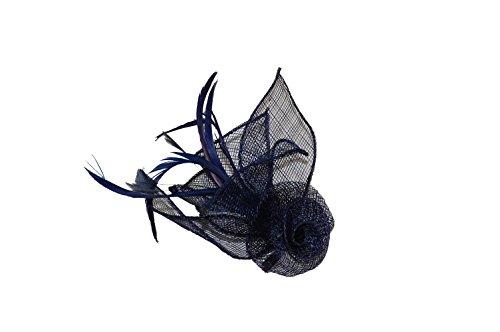 GIZZY® Damen Fascinator mit Sinamay-Blume, Blattformen und Federn, Marineblau