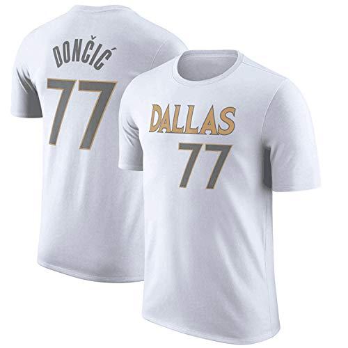 YCJL Maglia NBA da Uomo - Doncic 77# Dallas Mavericks Basketball Jerseys T-Shirt Tuta da Allenamento A Mezza Manica,Bianca,S:160~165cm
