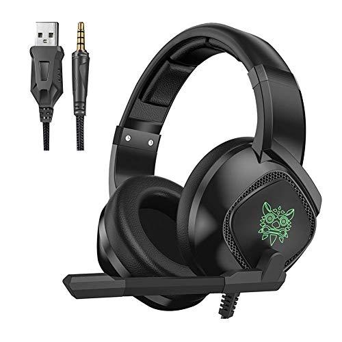 MZZYP Auriculares de Juegos para PS4 Xbox One, Auriculares sobre oído con micrófono LED, Enchufe de 3.5mm Surnero Envolvente para Playstation 4 computadora portátil Mac, Negro (Color : Black)
