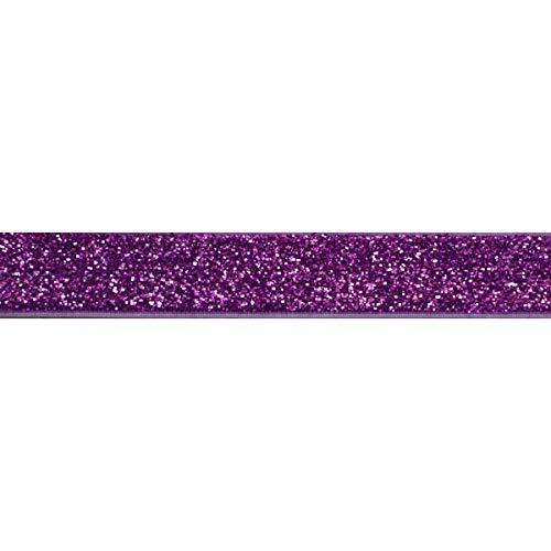 YYCRAFT 5 Yards Glitter 5/8' Elastic Ribbon for Hair Ties Headbands (Purple)