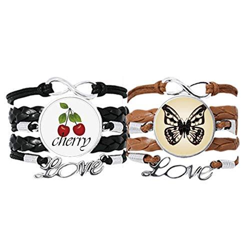 Pulsera con diseño de mariposa en pálido, correa de piel, cuerda de cereza, juego doble