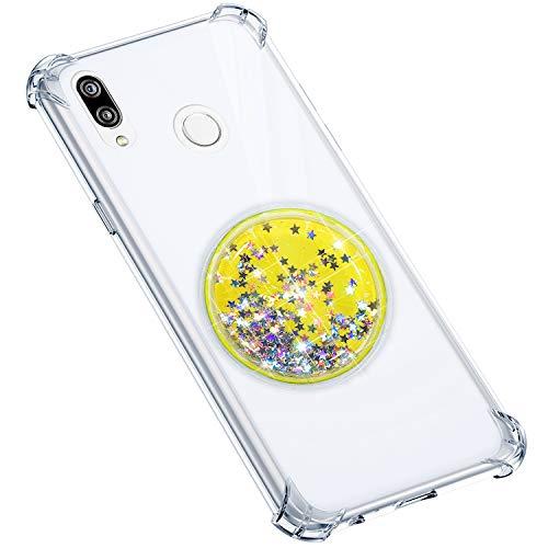 Uposao Compatible avec Coque Huawei P20 Lite Coque en Silicone Transparent Cute Motif Glitter Luxe Bling Paillette Etoiles Liquide Cristal Clair Ultra Fine Souple Gel TPU Bumper,Citron