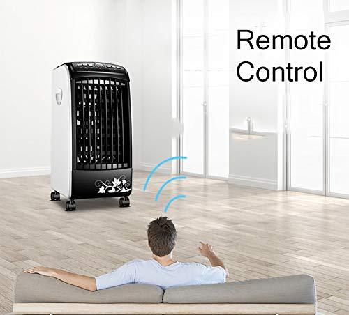 YB&GQ - Enfriador de aire portátil con mando a distancia para el hogar, humidificador de enfriamiento con 4 ruedas, 3 velocidades ajustables, 3 modos de viento, color negro