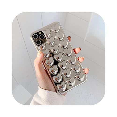 Schutzhülle für iPhone 12 Pro, 3D Love Heart für iPhone 11 12 Pro Max XR X XS Max 7 8 Plus, weiche Schutzhülle, einfarbig, für iPhone X Gold XS