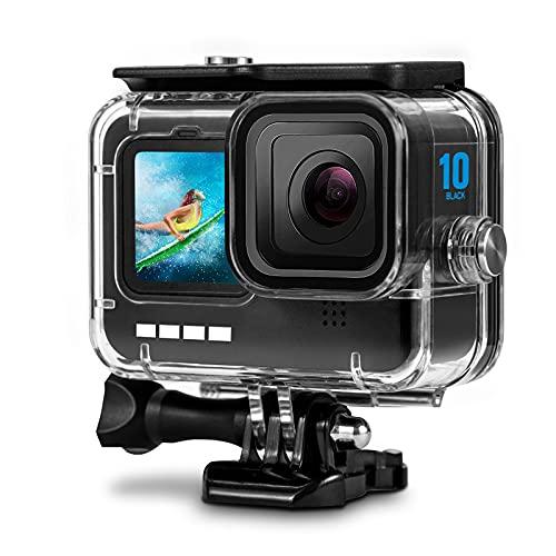 Wasserdicht Schutzhülle Gehäuse für GoPro Hero 10/ Hero 9 Black, PDEEY 60m Wasserdicht Unterwasser Gehäuse Unterwasser Zubehör mit Schnellmontage Klammer für GoPro Hero 9/10 Action Kamera