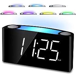 """Simple Digital Alarm Clock,7"""" Big LED Display & Full Dimmer,USB Cellphone Chargers,7-Color Night Light,Adjustable Volume,12/24 Hours,Plug in Alarm Clock for Kids Elderly Bedside Desk Kitchen Office"""