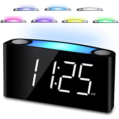 Alarm Clock for Bedrooms, 7'' Large Digital LED Display Alarm Clock - 7 Colored Night Light, 2 USB Chargers, Full Dimmer, 12/24 Hour & DST, Big Snooze, Adjustable Loud Alarm for Heavy Sleepers Kids Teens Boys Girls Elderly Seniors, Easy Set Plug-in Alarm Clock Battery Backup for Home Kitchen Desk Shelf Bedside Nightstand Office Travel (White)