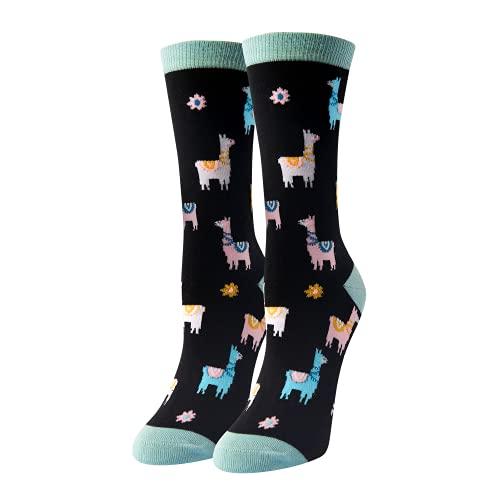 HAPPYPOP Women's Girls Crew Llama Socks, Novelty Cotton Llama Socks Animal Lover Gift