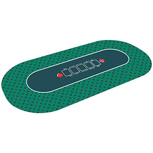 COSTWAY Pokermatte 180x90cm, Pokerauflage rollbar, Pokerteppich, Pokertuch, Pokertisch Unterlage, Pokertischauflage geeignet für Multiplayer-Pokerspiele, Karten, Mahjong, Schachbrettspiele