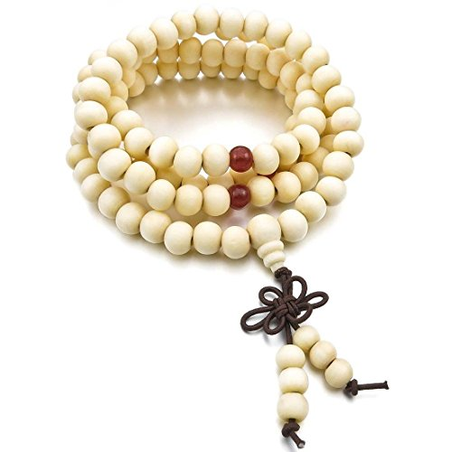 TOOGOO(R) Budismo Pulsera 8mm Madera Pulsera Brazalete Collar Tibetano Blanco Sandalo 108pcs Bead Oracion Budismo Budista Hombre,Mujer