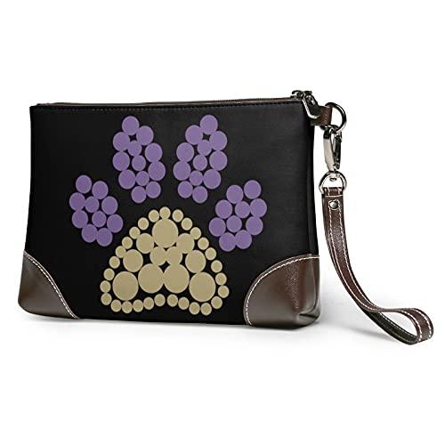 MGBWAPS Bolso colorido de las huellas del perro, bolso del embrague del cuero, bolso cosmético,...
