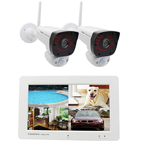 """CasaCam VS2072 Wireless Security Camera System with 7"""" Touchscreen Monitor and 2pcs 1296p (3MP) FHD Cameras, AC Powered, 32GB Micro SD Card Installed"""