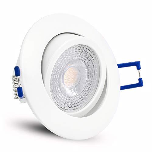 linovum ATESA LED Einbaustrahler schwenkbar extra flach nur 35mm mit 5W LED Modul warmweiß - Einbauspot matt weiß rund 230V