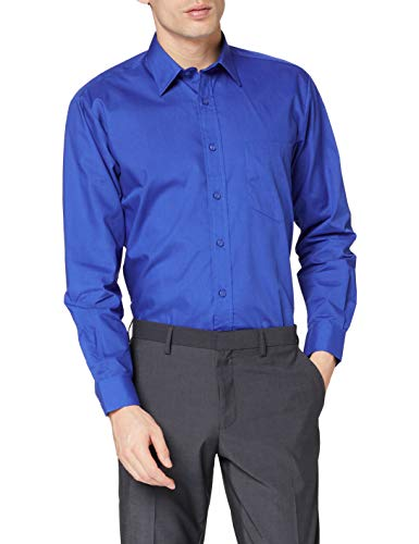 Premier Workwear Poplin Long Sleeve Shirt, Chemise Business Homme, Bleu (Bleu Roi), 18