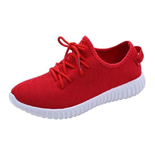 MRULIC Damen Low-Top Sneaker Halbschuh Schnürschuh Damen Flache Turnschuhe Mode Mesh Atmungsaktive Laufschuhe Schnürer Sportschuhe Trainer Schuhe Freizeitschuhe(Rot,41 EU)