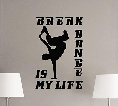 AGjDF Break Dance Wandtattoo Logo Tänzer Geschenk Gym Fitness Wandbild Vinyl Aufkleber, Street Dance Jugend Familie Inspirational Decoration42x64cm