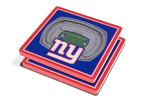 "YouTheFan NFL 3D Team StadiumViews 4x4 Coasters - Set of 2, New York Giants, 4"" x 4"", Team Color"