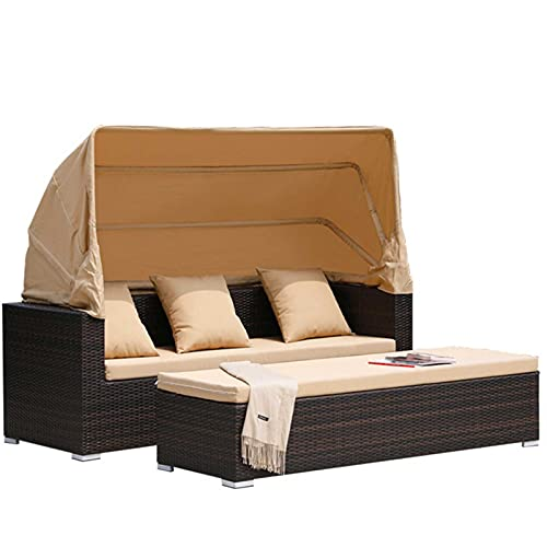 Set de sofá seccional de 2 Piezas Set de sofá de Patio de ratán con Dosel retráctiles, Cama de día de Rattan Poly Rattan, Sofá de Patio de Resina de Mimbre con Cojines, Almohadas