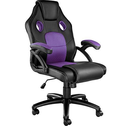 TecTake 800770 Racing Bürostuhl, Gaming Stuhl mit Wippmechanik, Kunstleder Chefsessel Drehstuhl, höhenverstellbarer Schreibtischstuhl, ergonomisch - Diverse Farben - (Schwarz-Lila | Nr. 403460)