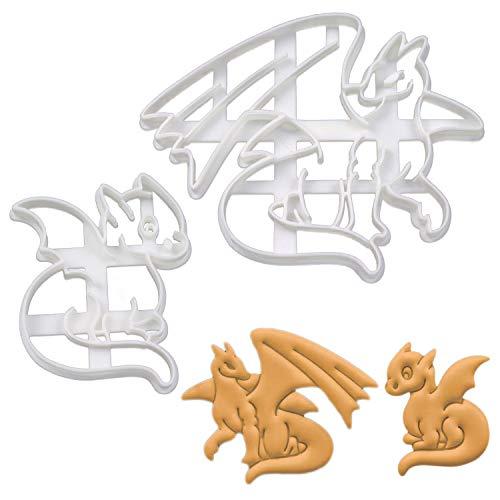 Bakerlogy 2er Set Drachen Ausstechformen (Formen: Ausgewachsener Drache und Baby-Drache), 2 Teile