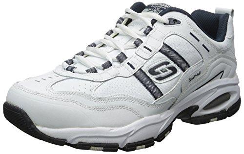 Skechers Sport Men's Vigor 2.0 Serpentine Memory Foam Sneaker,White/Navy,6.5 M US