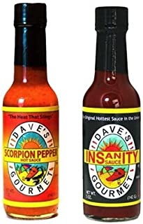 Daves Gourmet Scorpion Pepper Hot Sauce, 5 oz & Instanity Hot Sauce 5 oz