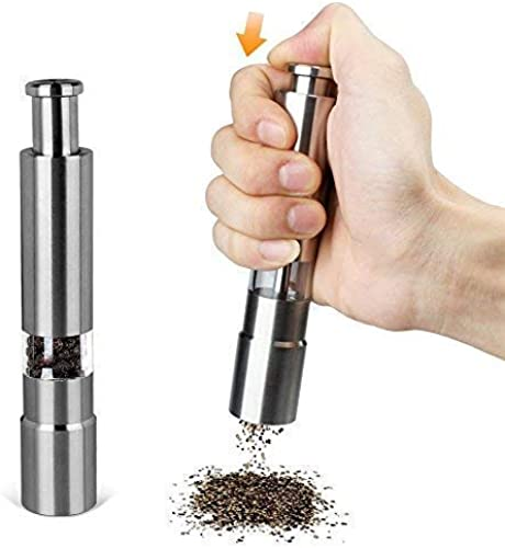 clotex Kitchen Gallery Mini Pepper Grinder Crusher Mill Stainless Steel Hand Thumb Press Set Machine Design for Grinding Salt and Black Pepper