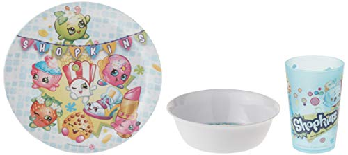 Zak Designs Shopkins Kids Dinnerware Set Includes Plate, Bowl, and Tumbler, Made of Durable Material and Perfect for Kids (Poppy Corn, 3 Piece Set, BPA-Free)