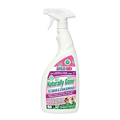 Naturally Gone Pet Odour Eliminator by Airpure, Heat Sealed Cap, Enzyme Cleaner Removes Smells and Stains, Cat Litter Freshener, Works on Urine, Vomit, Faeces and More - Herbal Fresh Fragrance