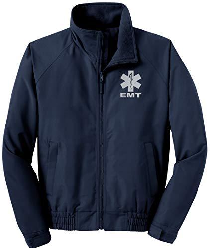 EMT Navy economy jacket, REFLECTIVE logo fleece lining Emergency Medical (Medium)