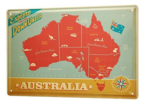 LEotiE SINCE 2004 Blechschild Wandschild 30x40 cm Vintage Retro Metallschild Abenteurer Australien Karte