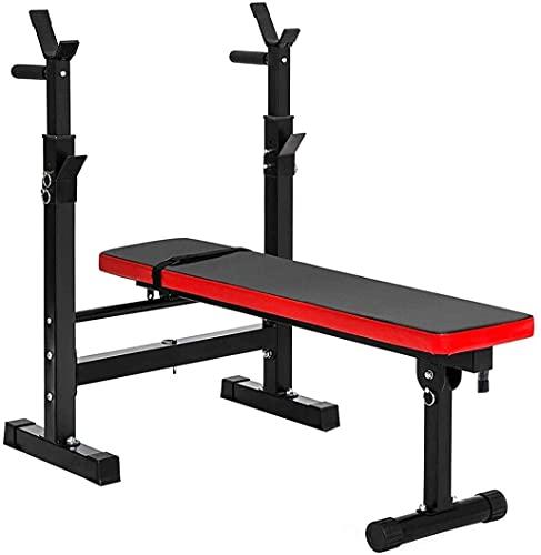 Banco auxiliar de fitness con mancuernas Soporte para barra plegable y banco de pesas para gimnasio en casa, soportes para mancuernas ajustables, soporte para sentadillas, entrenamiento de fuerza con