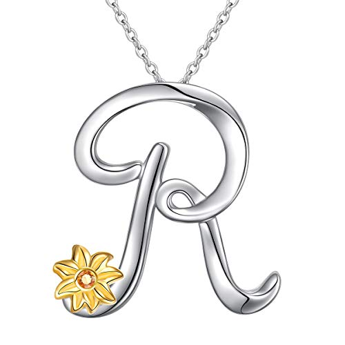 Sterling Silver Gold Tone Sunflower Initial 26 Letter Script Name Alphabet A to Z Necklace Personalized Pendant (R-Mini Sunflower)