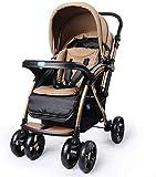 Cochecito de bebé Cochecito Ajustable Cochecito de bebé 2 en 1 Cochecitos de bebé de Dos vías Sistema de Viaje Cochecito de bebé Puede Sentarse y acostarse para Doblar el Carrito de niño